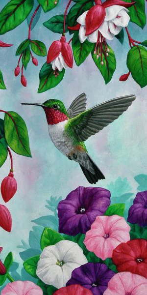 Birds And Flowers Painting - Hummingbird Flying In Spring Flower Garden 2 by Crista Forest
