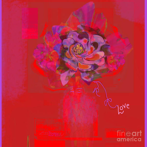 Organic Abstraction Mixed Media - Hummingbirds Red Fantasy by Zsanan Studio