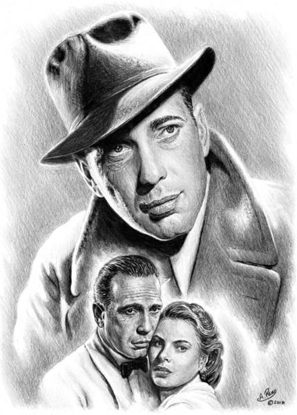 Handsome Drawing - Humphrey Bogart by Andrew Read
