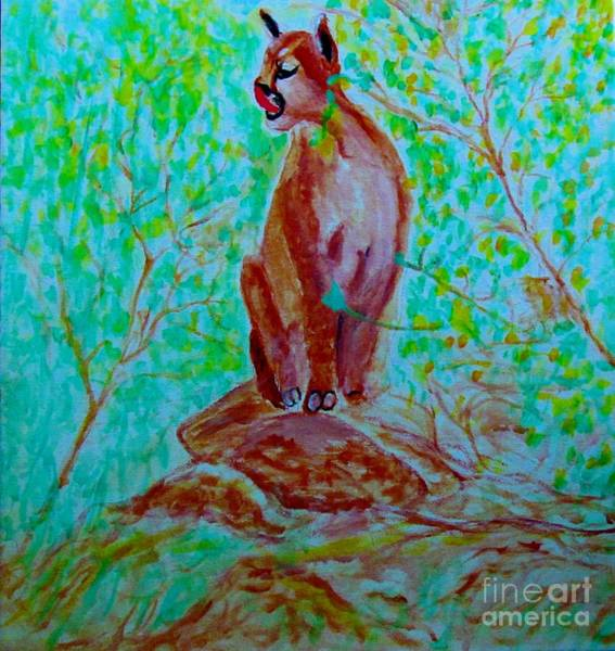 Painting - Hungry Mountain Lion by Stanley Morganstein