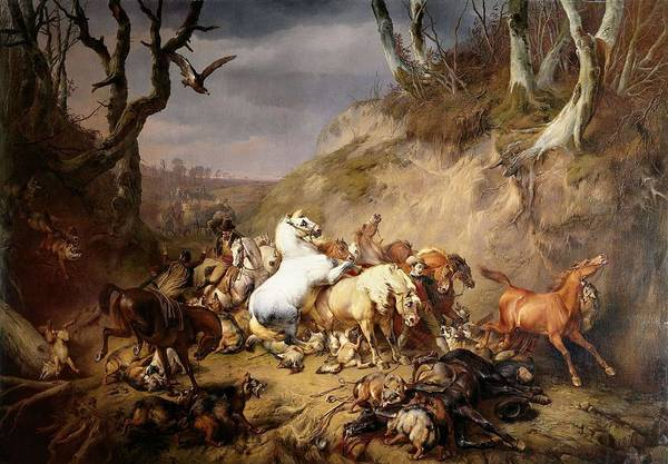 Eugene Joseph Verboeckhoven Painting - Hungry Wolves Attacking A Party Of Riders. by Eugene Joseph Verboeckhoven -1798-1881-