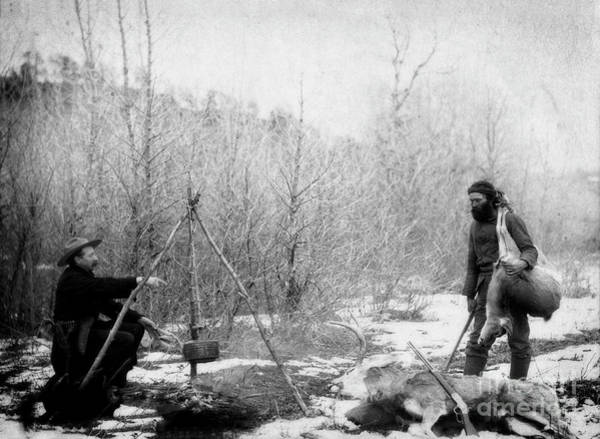 Photograph - Hunting Deer Old West Miners Cooking 1888 by Doc Braham