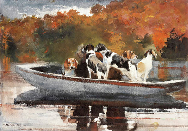 Wall Art - Painting - Hunting Dogs In Boat - Digital Remastered Edition by Winslow Homer