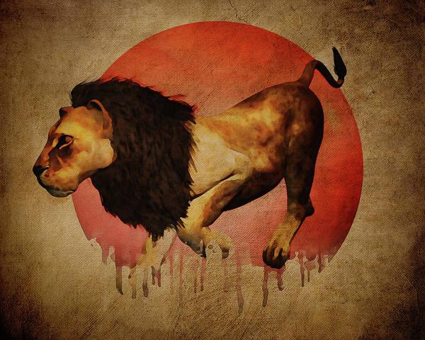 Digital Art - Hunting Lion by Jan Keteleer