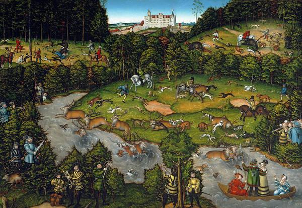 Cranach Painting - Hunting Near Hartenfels Castle, 1540 by Lucas Cranach