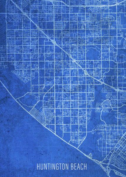 Wall Art - Mixed Media - Huntington Beach California City Street Map Blueprints by Design Turnpike