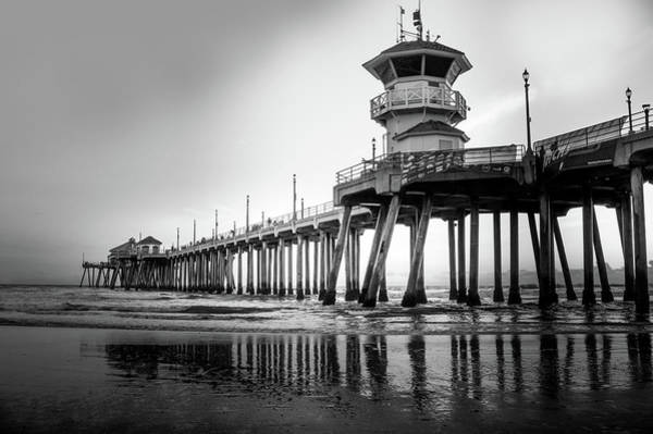 Wall Art - Photograph - Huntington Beach Pier In Black And White by Art Spectrum
