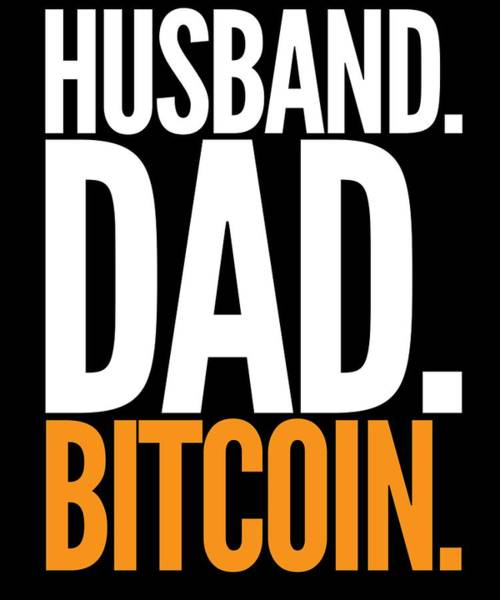 Bitcoin Drawing - Husband Dad Bitcoin Cryptocurrency T Shirt Funny Humor by Cameron Fulton