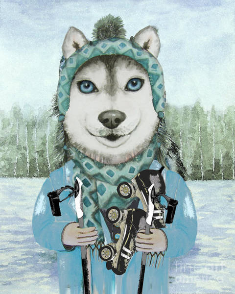Husky Mixed Media - Husky Dog by Monica LaTanya