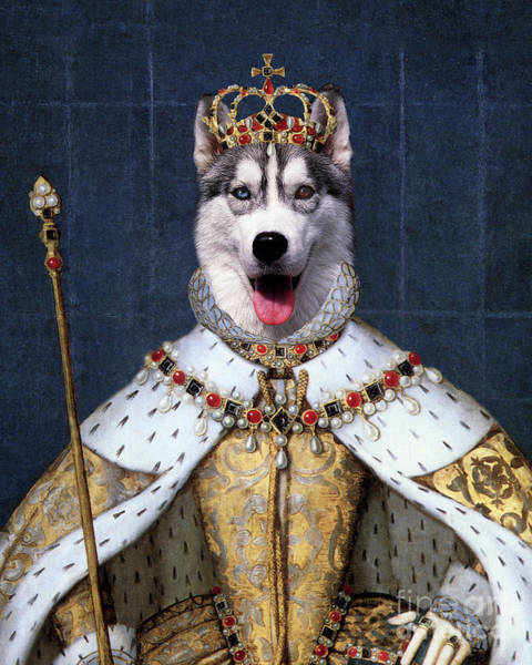 Husky Mixed Media - Husky Dog Queen by Monica LaTanya