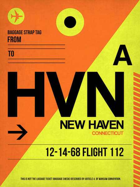 Wall Art - Digital Art - Hvn New Haven Luggage Tag I by Naxart Studio