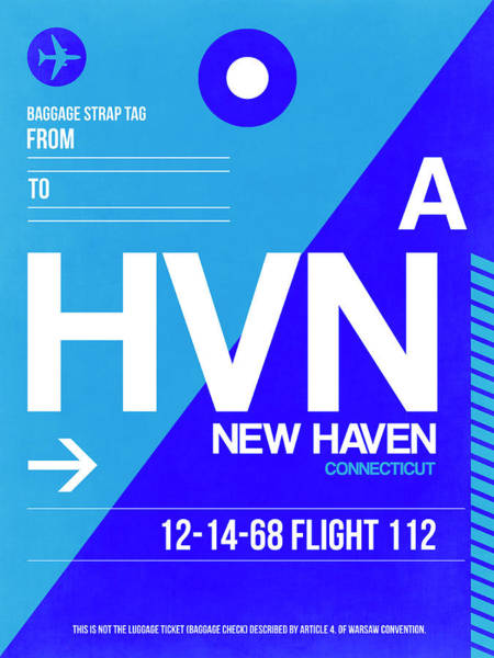 Wall Art - Digital Art - Hvn New Haven Luggage Tag II by Naxart Studio