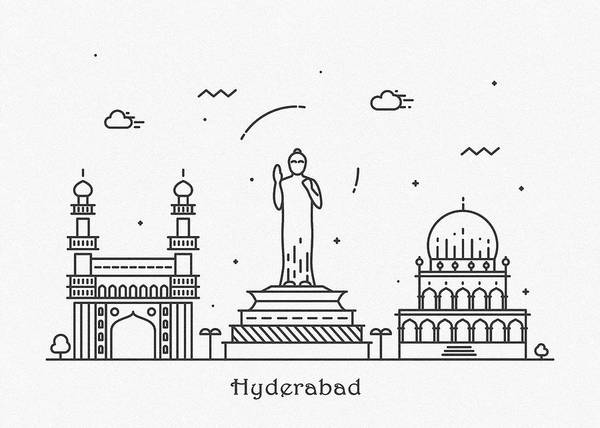 Landmark Center Drawing - Hyderabad Cityscape Travel Poster by Inspirowl Design