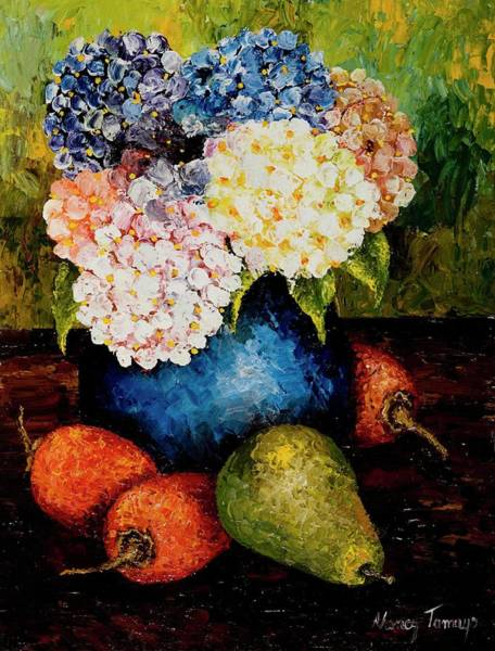 Food Groups Painting - Hydrangea, 2005 Acrylic On Cartboard by Nancy Tamayo