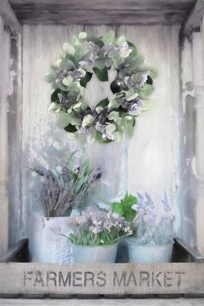 Wall Art - Mixed Media - Hydrangea Wreath And Lavender by Lori Deiter