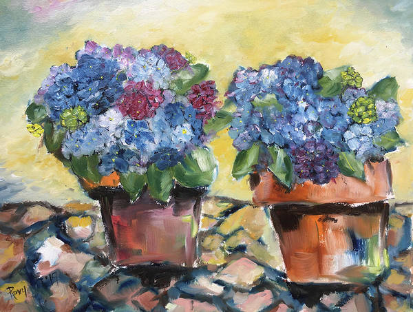 Wall Art - Painting - Hydrangeas On The Patio by Roxy Rich