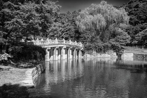 Photograph - Hyeonchungsa Shrine Koi Pond In Black And White by Rick Berk