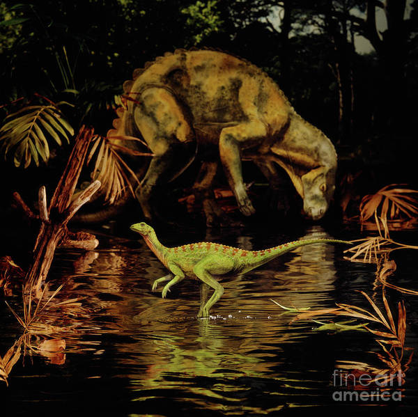 Photograph - Hypsilophodon And Iguanodon by Warren Photographic