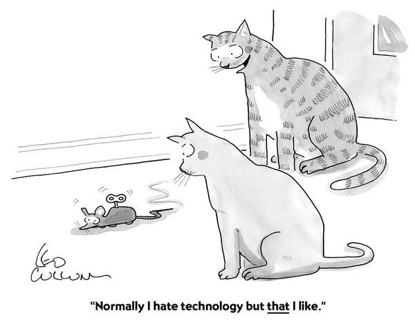 Drawing - I Hate Technology by Leo Cullum