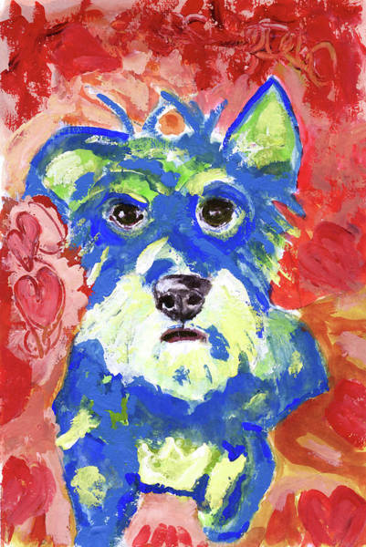 Wall Art - Painting - I Heart A Blue Dog by Susan Stone