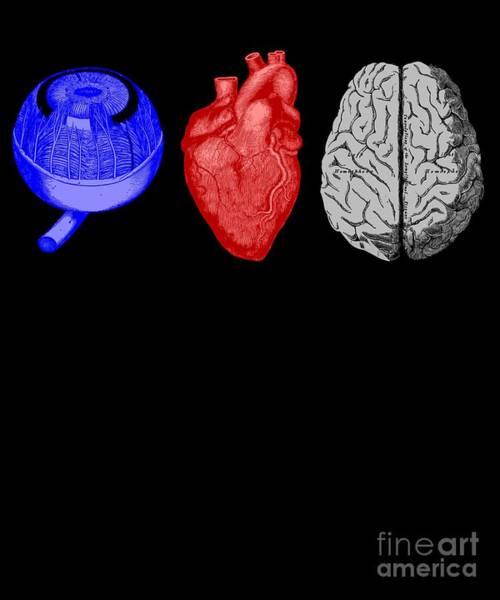 Psychiatrist Digital Art - I Heart Brains Science Nerd Gift by Mike G