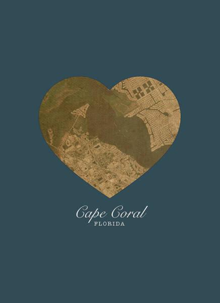 I Heart Cape Coral Florida Street Map Love Series No 135 Art Print