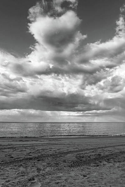 Photograph - I Heart Crane Beach Heart Shaped Cloud Ipswich Ma Black And White by Toby McGuire