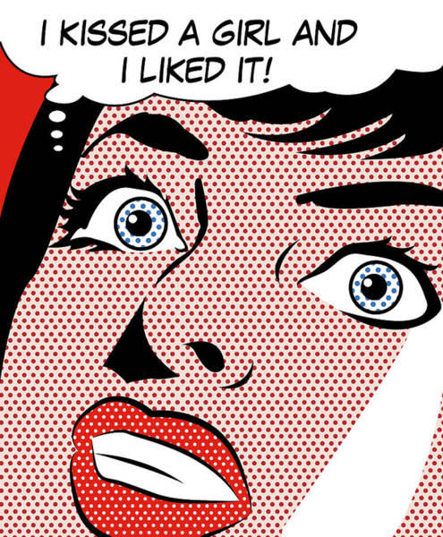 Speech Bubble Wall Art - Digital Art - I Kissed A Girl And I Liked It by Long Shot