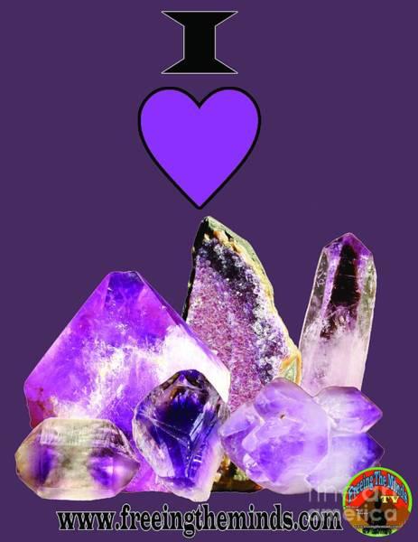 Digital Art - I Love Amethyst Crystals by Odalo Wasikhongo