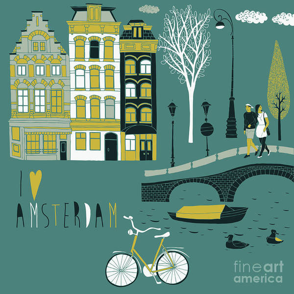 Iconic Digital Art - I Love Amsterdam by Lavandaart