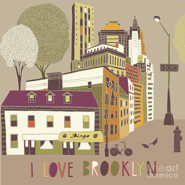 Wall Art - Digital Art - I Love Brooklyn Print Design by Lavandaart