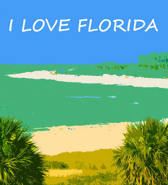 Wall Art - Mixed Media - I Love Florida T Shirt / Poster Work A by David Lee Thompson
