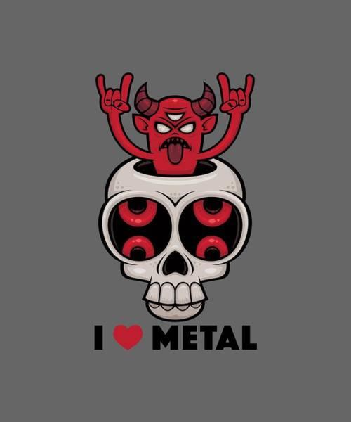 Satan Digital Art - I Love Metal Possessed Skull by John Schwegel
