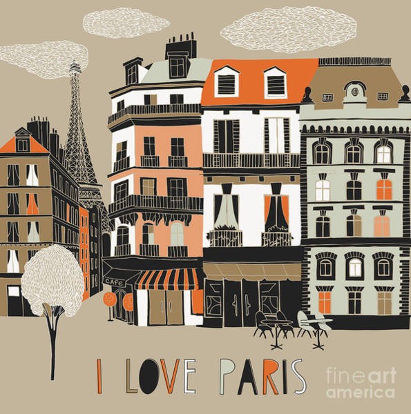 Wall Art - Digital Art - I Love Paris Print Design by Lavandaart