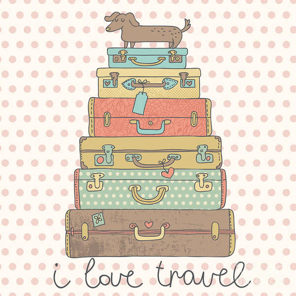 Bag Wall Art - Digital Art - I Love Travel. Travel Conceptual Card by Smilewithjul