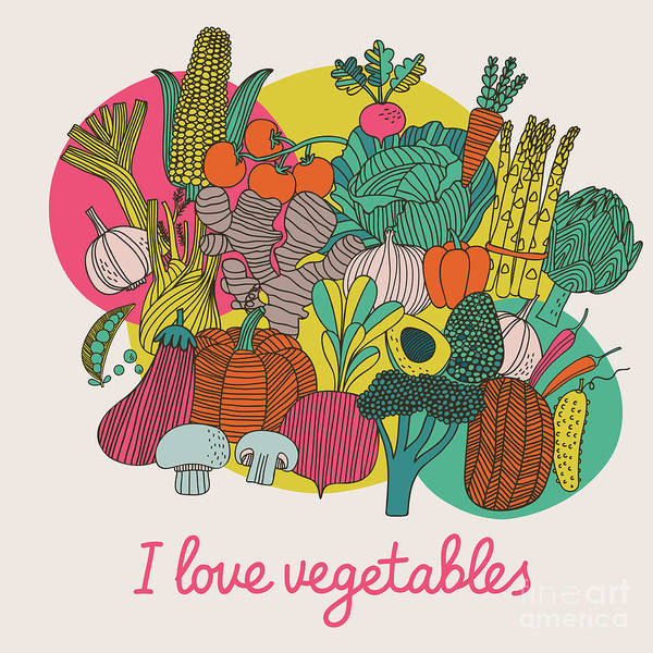 Wall Art - Digital Art - I Love Vegetables - Concept Vector by Smilewithjul