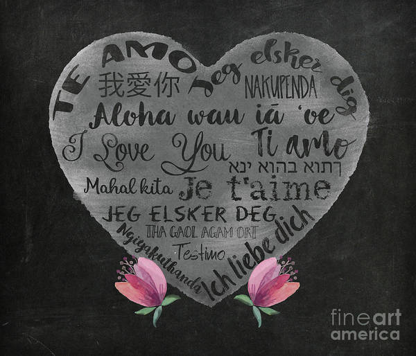 Wall Art - Painting - I Love You Chalkboard Heart, Flowers by Tina Lavoie