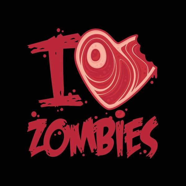 Meat Digital Art - I Love Zombies With Meat Heart by John Schwegel