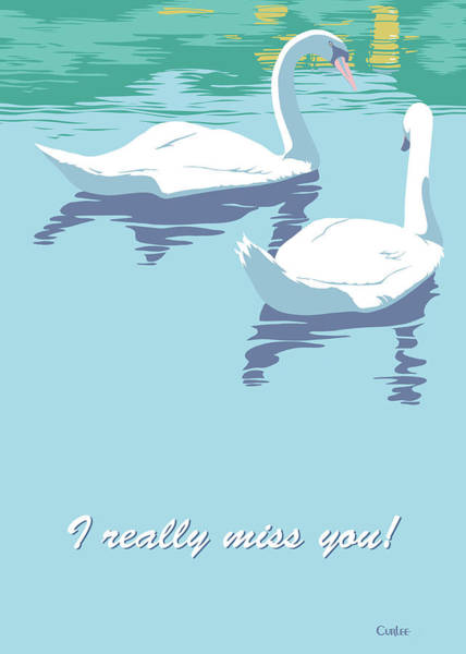Wall Art - Painting - I Really Miss You Greeting Card - Two Swans Swimming by Walt Curlee
