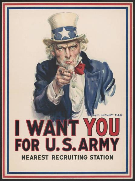 Wall Art - Painting - I Want You For U.s. Army , Nearest Recruiting Station, 1917. Poster Designed By James Montgomery Fla by Celestial Images