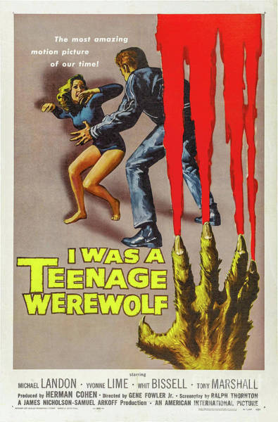 Wall Art - Drawing - I Was A Teenage Werewolf Movie Poster by Delphimages Photo Creations
