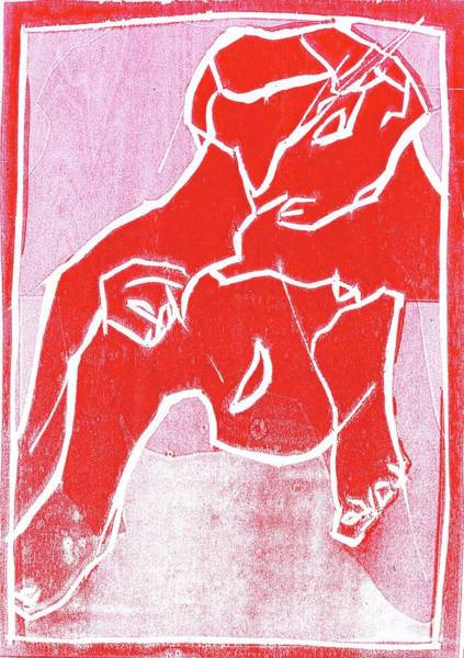 Relief - I Was Born In A Mine Woodcut 18 by Artist Dot
