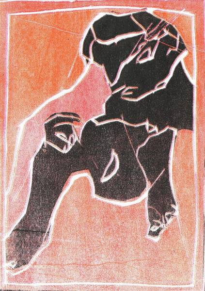 Relief - I Was Born In A Mine Woodcut 20 by Artist Dot