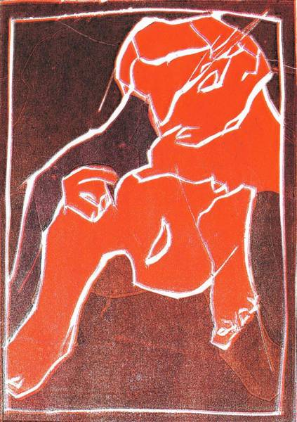 Relief - I Was Born In A Mine Woodcut 21 by Artist Dot