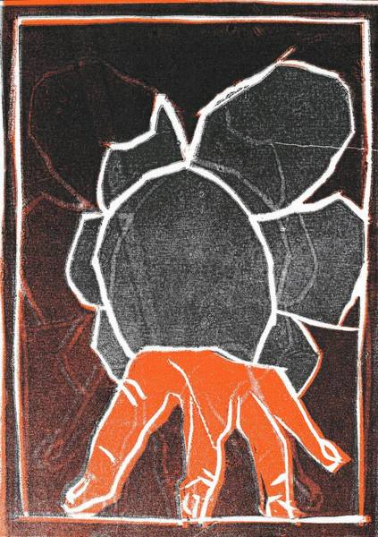 Relief - I Was Born In A Mine Woodcut 24 by Artist Dot