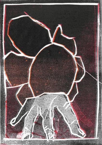 Relief - I Was Born In A Mine Woodcut 26 by Artist Dot