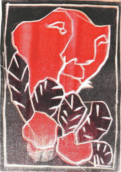 Relief - I Was Born In A Mine Woodcut 36 by Artist Dot