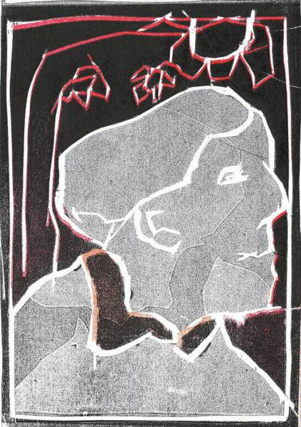 Relief - I Was Born In A Mine Woodcut 45 by Artist Dot