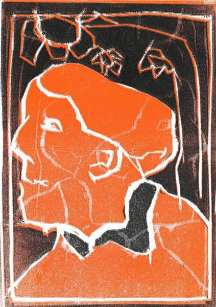 Relief - I Was Born In A Mine Woodcut 48 by Artist Dot