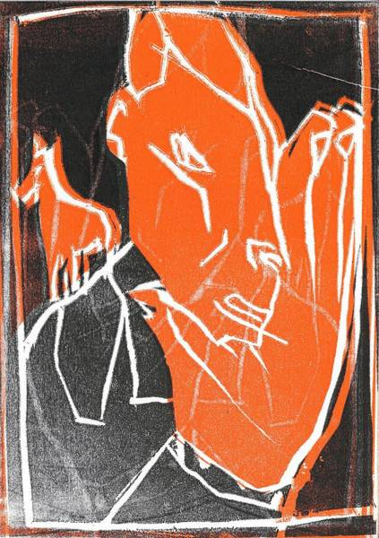 Relief - I Was Born In A Mine Woodcut 61 by Artist Dot